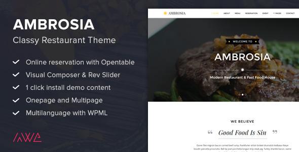 قالب Ambrosia - قالب وردپرس رستوران درجه یک