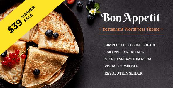 قالب Bon Appetit - قالب وردپرس رستوران