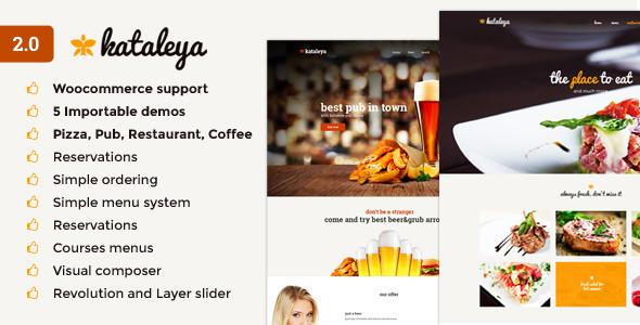 قالب Kataleya - قالب وردپرس رستوران پیتزا کافه