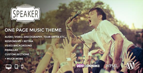 قالب Speaker - قالب سایت موسیقی تک صفحه