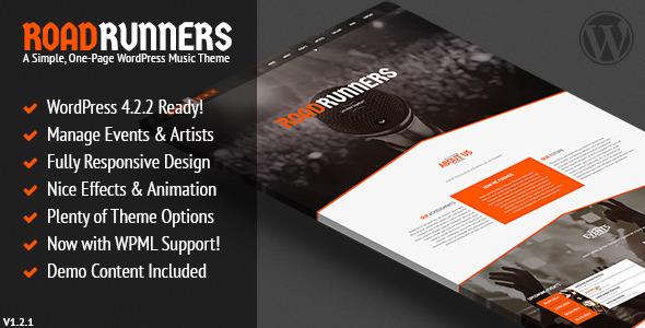 قالب RoadRunners - قالی وردپرس تک صفحه ای موسیقی