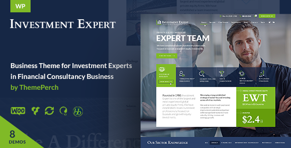قالب Investment Expert - قالب وردپرس کسب و کار برای مشاوره مالی