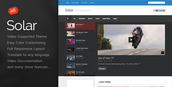 قالب Solar - قالب ویدئو وردپرس