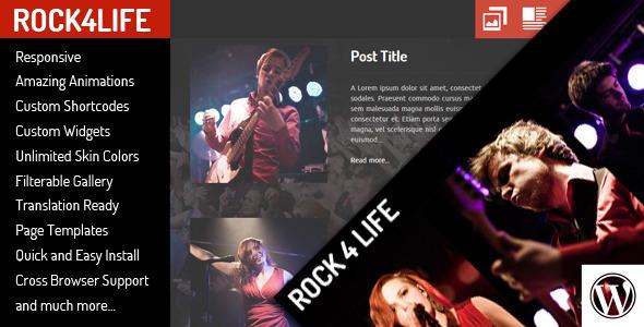قالب Rock4Life - قالب وردپرس گروه موسیقی
