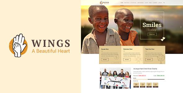 قالب Wings Charity - قالب خیریه برای وردپرس