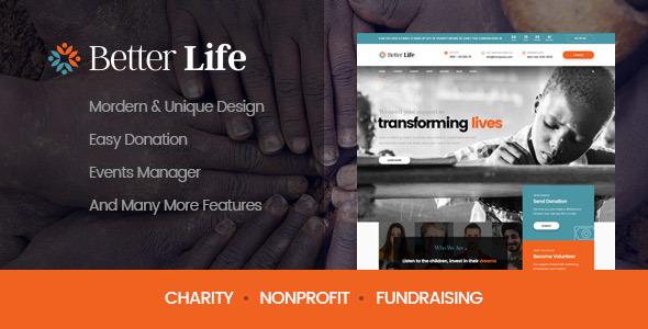 قالب BetterLife - قالب وردپرس مرکز خیریه