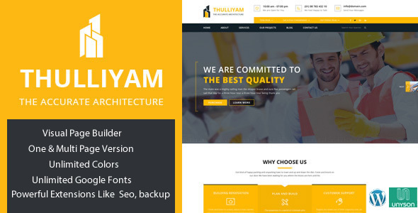 قالب Thulliyam - قالب وردپرس ساخت و ساز و معماری
