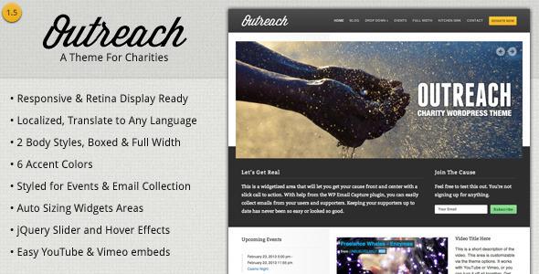 قالب Outreach - قالب وردپرس خیریه