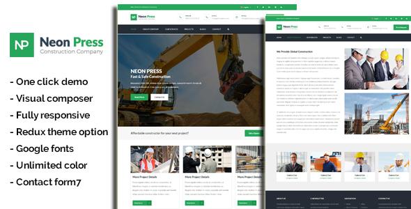 قالب Neon-Press - قالب وردپرس کسب و کار ساختمانی