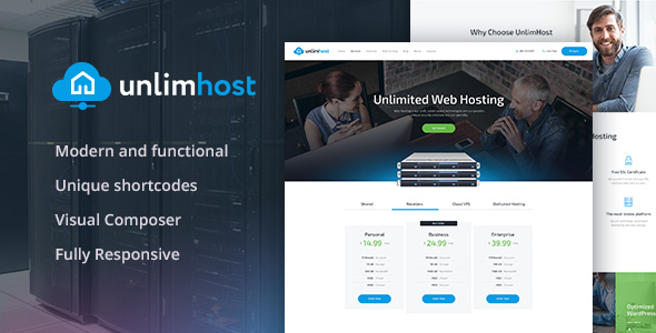 قالب UnlimHost - قالب وردپرس هاستینگ و فن آوری