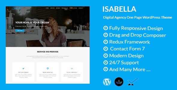 قالب Isabella - قالب وردپرس تک صفحه ای آژانس دیجیتال