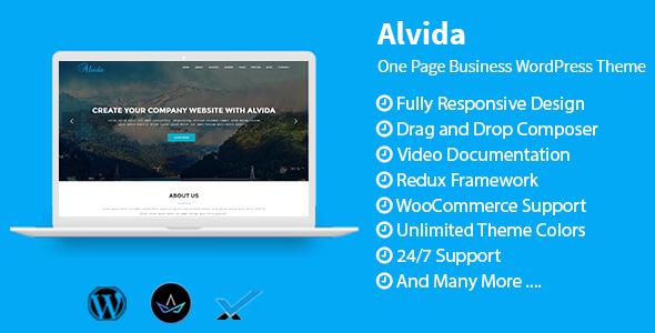 قالب Alvida - قالب تک صفحه ای وردپرس کسب و کار