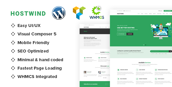 قالب HostWind - قالب وردپرس هاستینگ با WHMCS