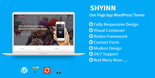 Shyinn - قالب وردپرس تک صفحه ای برای اپلیکیشن