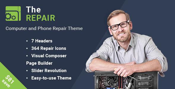 The Repair - قالب وردپرس تعمیرات کامپیوتر و الکترونیک