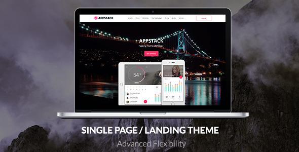 قالب AppStack - قالب وردپرس تک صفحه ای اپلیکیشن
