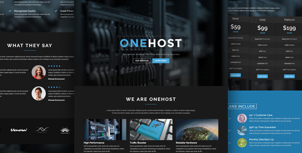 قالب Onehost - قالب وردپرس شرکت هاستینگ + WHMCS