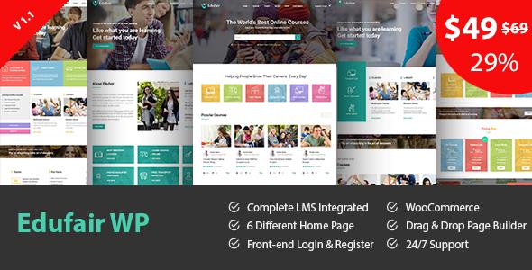 قالب Edufair - قالب وردپرس برای سایت آموزشی