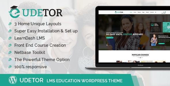 قالب Udetor - قالب وردپرس آموزش و LMS