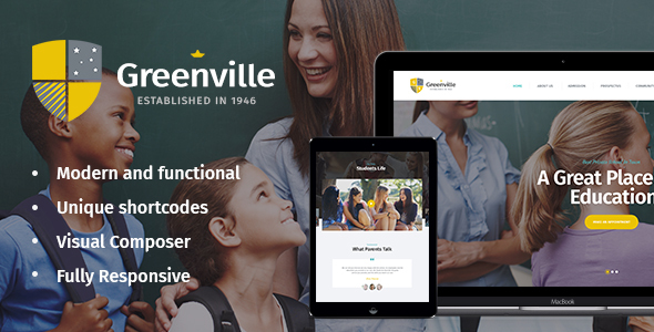 قالب Greenville - قالب وردپرس مدرسه غیر انتفاعی