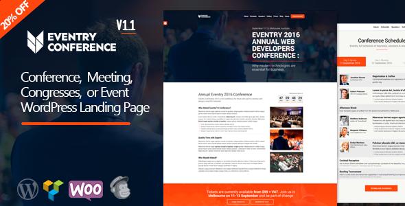 قالب Eventry - قالب وردپرس صفحه فرود کنفرانس و رویداد