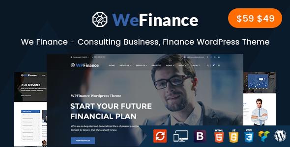 قالب We Finance - قالب وردپرس مشاوره کسب و کار و امور مالی