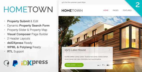 هوم تاون | Hometown - قالب وردپرس املاک