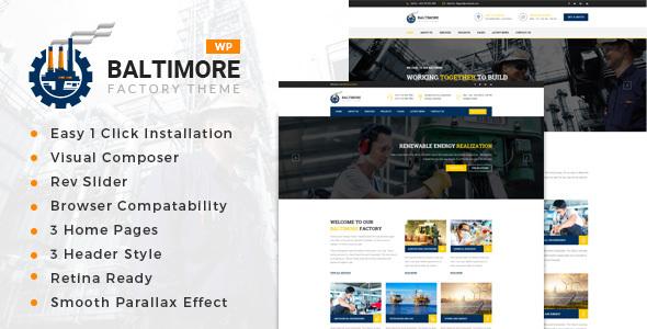 قالب Baltimore Factory - قالب وردپرس کارخانه و تجارت صنعتی