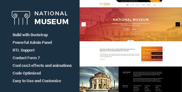 قالب Museum - قالب وردپرس ریسپانسیو
