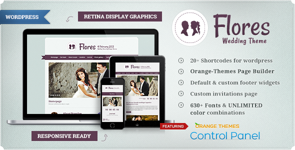قالب Flores - قالب وردپرس مراسم ازدواج