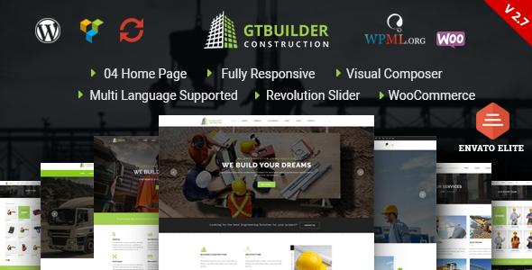 قالب GTBuilder - قالب وردپرس ساخت و ساز ساختمان
