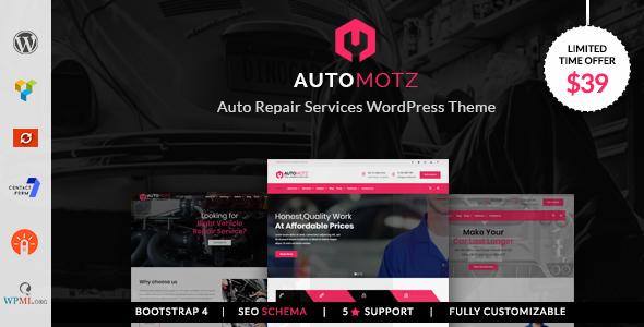 قالب Automotz - قالب وردپرس تعمیرگاه اتومبیل