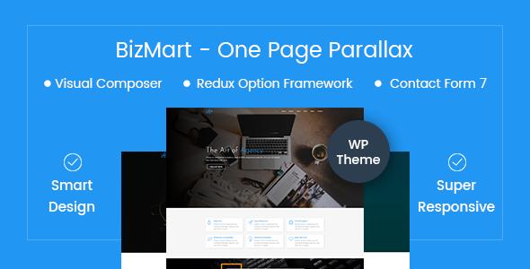 قالب Bizmart - قالب وردپرس تک صفحه ای پارالاکس
