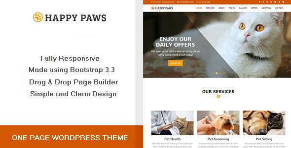 قالب Happy Paws - قالب وردپرس تک صفحه ای