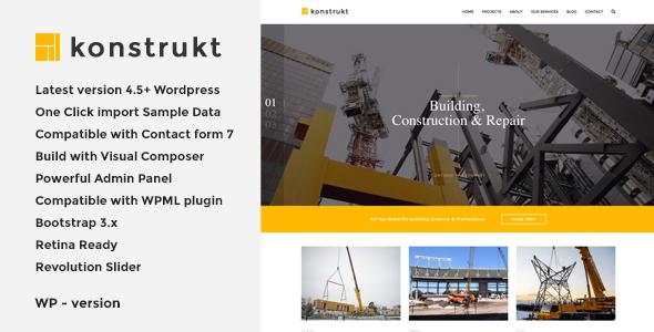Konstrukt - قالب وردپرس ساخت و ساز ساختمان