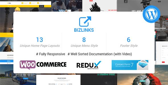 قالب BizLinks - قالب چندمنظوره شرکتی وردپرس