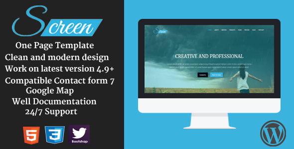 قالب Screen - قالب وردپرس تک صفحه ای تجاری