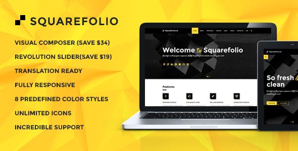 قالب Squarefolio - قالب وردپرس چند منظوره کسب و کار