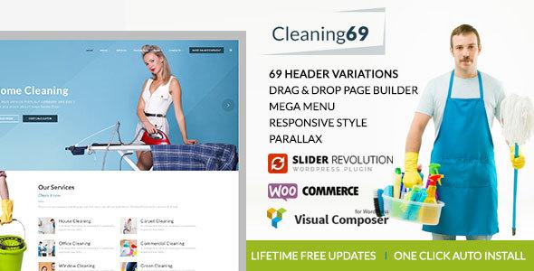 قالب Cleaning69 - قالب وردپرس شرکت تمیزکاری خانه