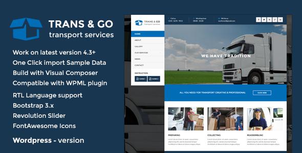 قالب TransGo - قالب وردپرس شرکت حمل و نقل
