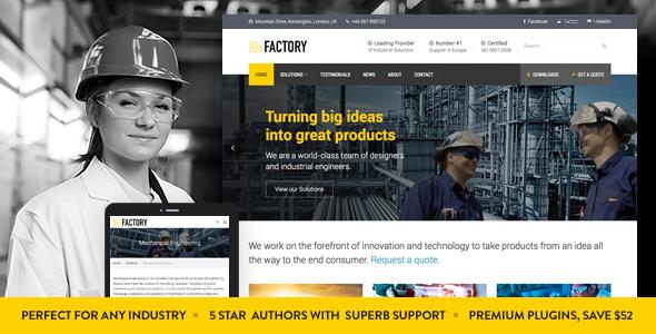 قالب Factory - قالب وردپرس کسب و کار صنعتی