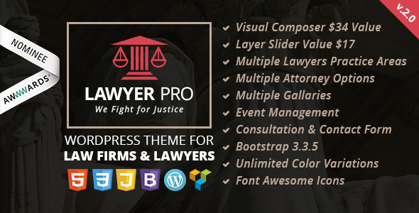 قالب Lawyer Pro - قالب وردپرس برای وکلا