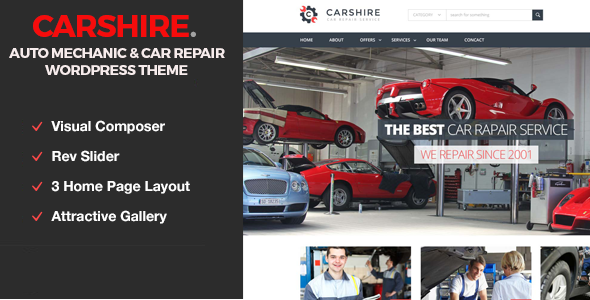 قالب Car Shire - قالب وردپرس تعمیر و مکانیک خودرو