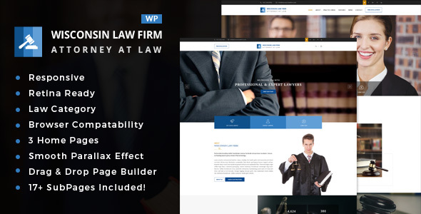 Wisconsin - قالب وردپرس شرکت حقوقی