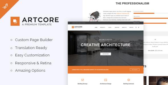 قالب Artcore - قالب وردپرس معماری ساختمان