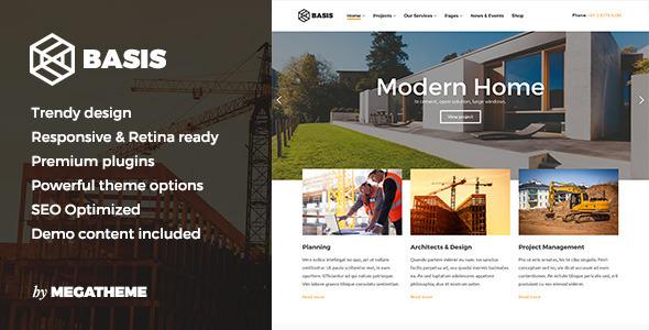 Basis - قالب وردپرس کسب و کار ساختمانی