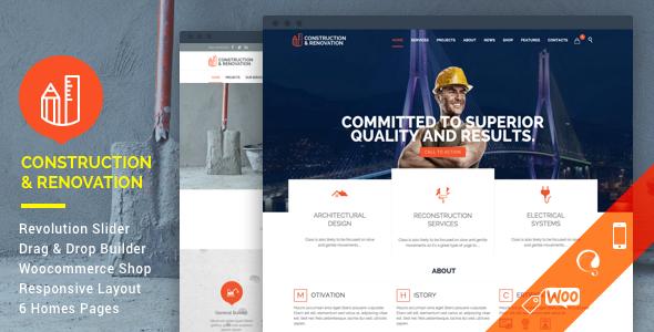 قالب Construction - قالب شرکت ساختمانی