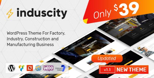 قالب Induscity - قالب وردپرس کارخانه، صنعت، ساخت و ساز و تجارت