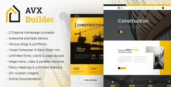 قالب AVXBuilder - قالب وردپرس کسب و کار ساختمانی