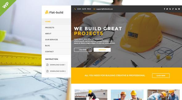 قالب Flatbuild - قالب وردپرس کسب و کار ساختمانی